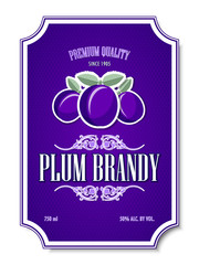Premium quality plum brandy distillate label on white background