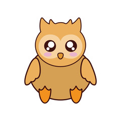 owl kawaii cute animal little icon. Isolated and flat illustration