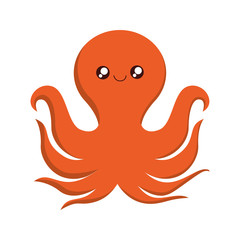 octopus kawaii cute animal little icon. Isolated and flat illustration
