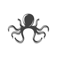 Octopus black icon, logo element, flat vector illustration isolated on white background.