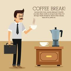 man male cartoon mug kettle coffee break shop store icon. Colorfull illustration. Vector graphic
