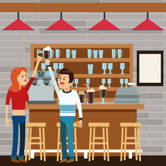woman man female male cartoon people coffee break shop icon. Colorful illustration. Store background. Vector graphic