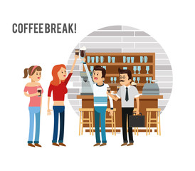 woman man female male cartoon people coffee break shop store icon. Isolated and Colorfull illustration. Vector graphic
