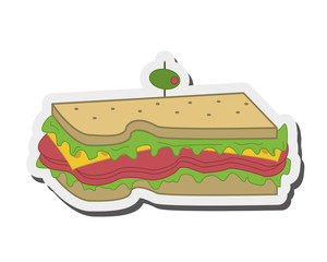 flat design sandwich with olive icon vector illustration
