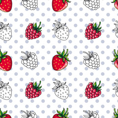 Vector seamless patterns. Berries with peas