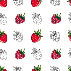 Vector seamless patterns. Berries