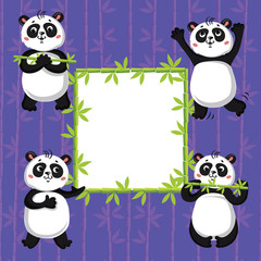 cute pandas and bamboo. Vector illustration