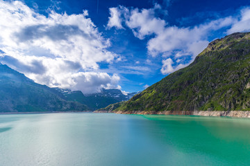Poster Reflexion Lac (lake) Emosson near Finhaut in the Valais, Switzerland