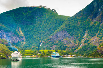 Cruise ship on fjord Sognefjord in Flam Norway