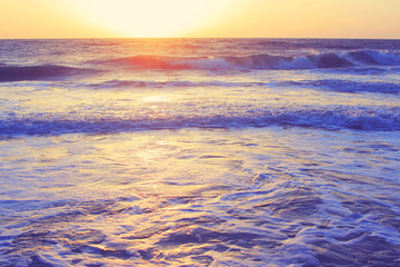 Abstract ocean seascape waves evening sunset sunrise vintage filter