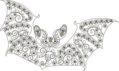 Zentangle stylized bat black and white hand drawn vector illustration