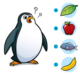 Vector Illustration of make the right choice connect animal with their food - Penguin