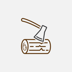 ax and wood line icon, outline vector logo illustration, linear pictogram isolated on white