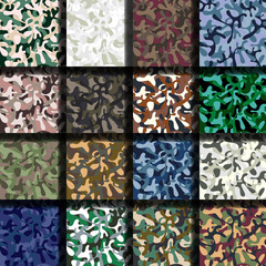 Set of sixteen seamless camouflage patterns. Woodland, navy, desert & snow camo versions.