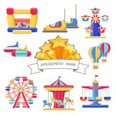 Set of Amusement Park Elements