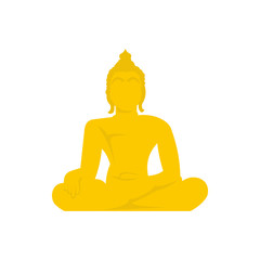 Buddha statue icon in flat style isolated on white background. Religion symbol