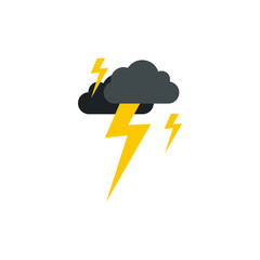 Clouds and lightning icon in flat style isolated on white background. Weather symbol