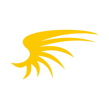 Yellow birds wing icon in flat style isolated on white background. Flying symbol