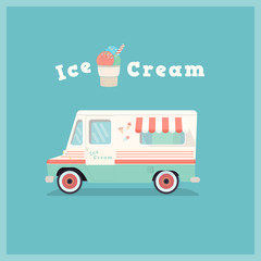 Colorful retro ice cream van. Vintage shop car. Vector illustration.