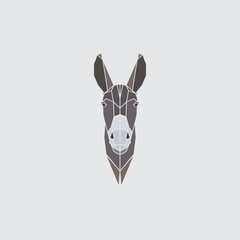 Multicolor head donkey on gray background. Polygonal style. Vector illustration.