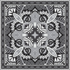 black and white authentic silk neck scarf or kerchief square pat