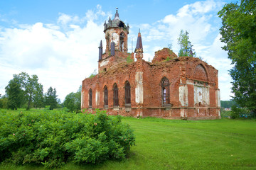 The ruins of the Orthodox Church of the Kazan icon of the mother of God in the village Andrianovo, Leningrad region, Russia