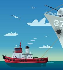 Tugboat pulling damaged navy ship