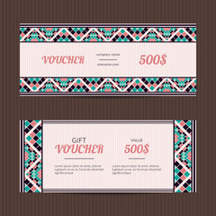 Gift voucher with geometric elegant design. Vector template for coupon or discount card. Vector sales card. eastern design template layouts.
