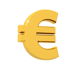 3D rendering of Euro Symbol made of sparkling gold with reflection isolated on white background.