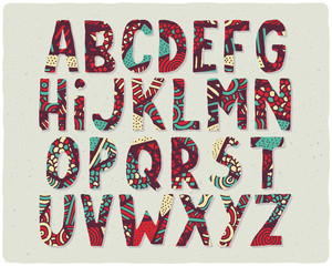 Funny color decorative font with doodle hand drawn pattern fill
