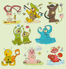 the monsters vector set hand drawing isolated