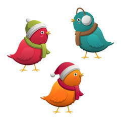 Vector Illustration of Colorful Cute Little Cartoon Winter Birds