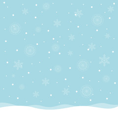 Vector Illustration of a Winter Landscape with Snowflakes. Christmas Background.