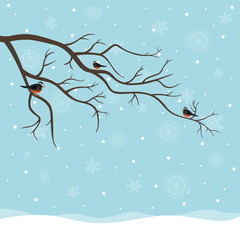 Vector Illustration of a Winter Background with Birds Sitting on a Branch