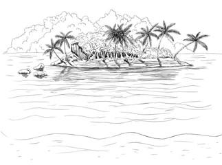 Hand drawn tropical island.