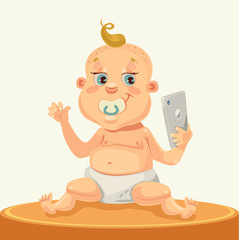 Little child character with smartphone. Vector flat cartoon illustration