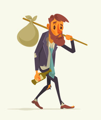 Unemployed office worker character. Vector flat cartoon illustration