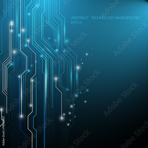 Abstract Lines Circuit Blue and White Lights Blackground with Sp ...