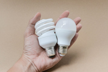 LED bulb and Fluorescent bulb on hand -  The choice of lighting for saving