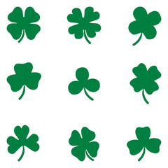 Shamrock set Clover leaves vector set isolated