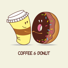 A Cup of coffee and a donut, love forever. Comic, cartoon. Vecto