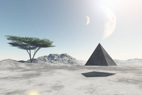 Pyramid flying over deserted land