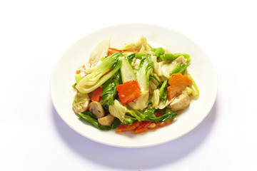 Stir fried mix colorful vegetables on white background