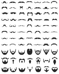 Beard with moustache or mustache, vector icons set