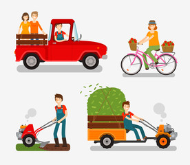 Farm icons set. Cartoon characters such as farmer, truck, bike, tillers, motor cultivator. Vector illustration