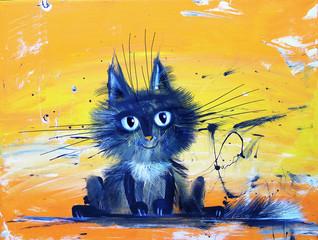 Blue Smiling Kitten On Background Painted Linen