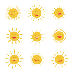 Set sun character smiling and shining. Vector icons collection.