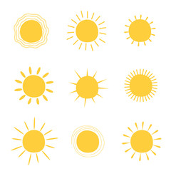 Set sun . Vector icons collection.Cute stickers vector icons.