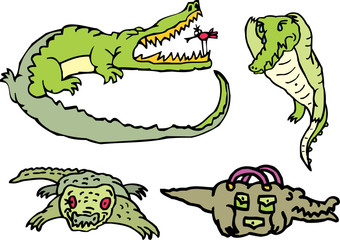 Set of comic gators on a rest