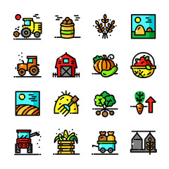 Thin line Harvest icons set, vector illustration